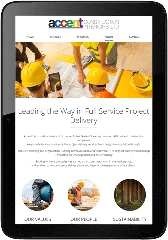 Responsive website re-design for Accent Construction - tablet