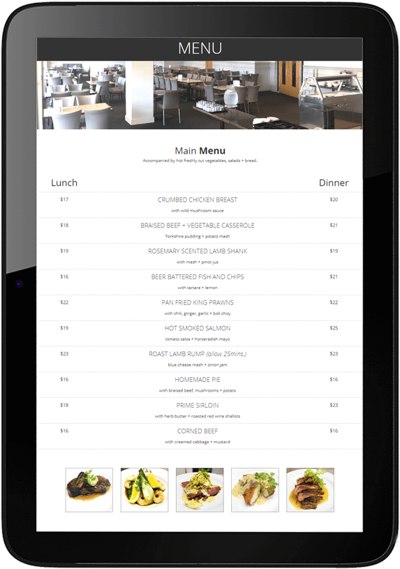 Freyberg website design tablet - The Freyberg Restaurant
