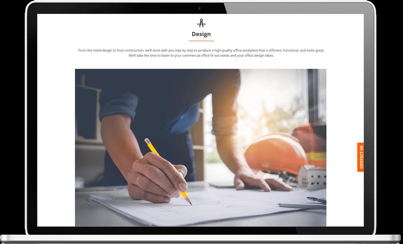 Desktop website design for Impel Interiors