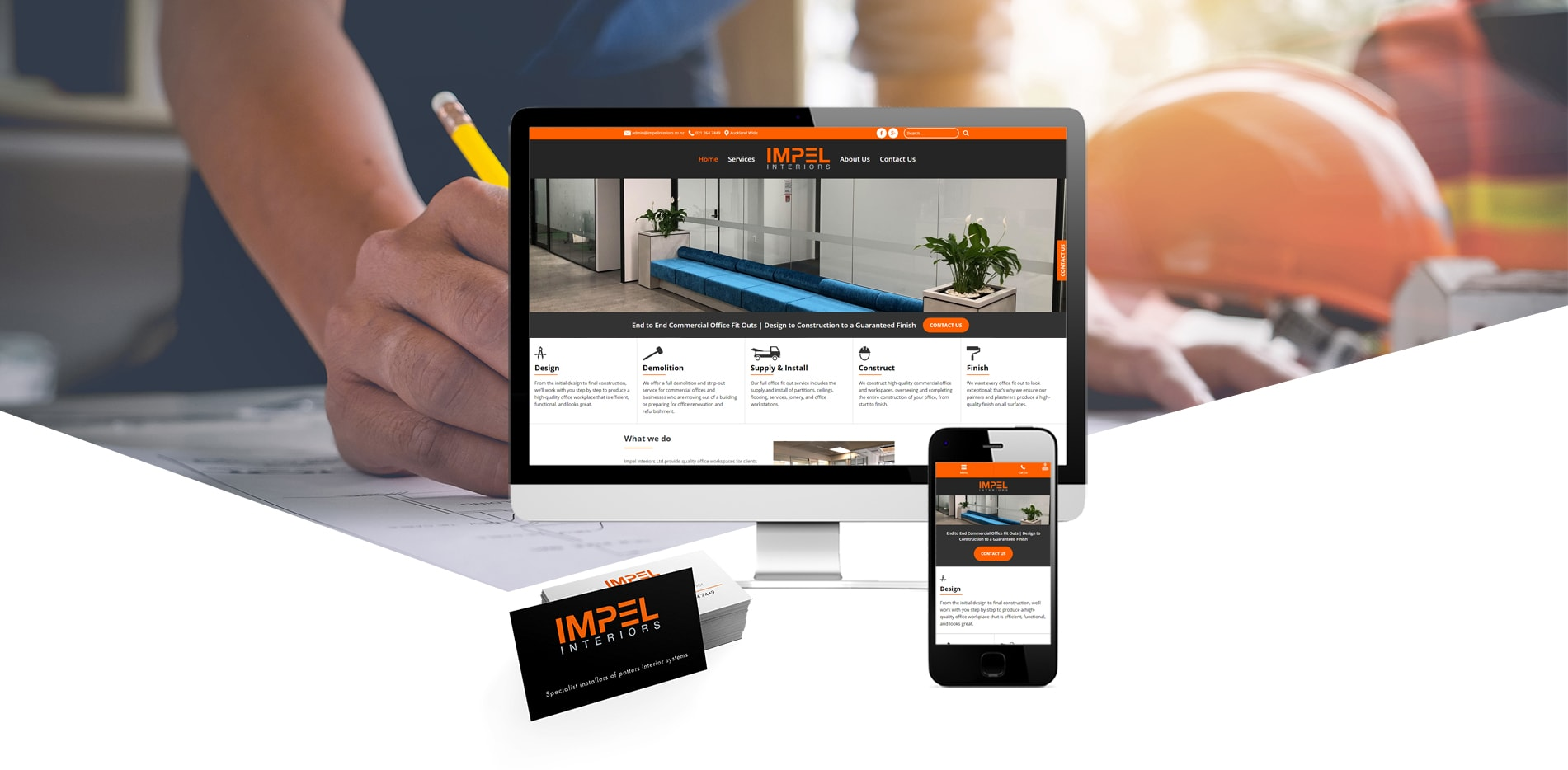 Impel interiors website and business cards
