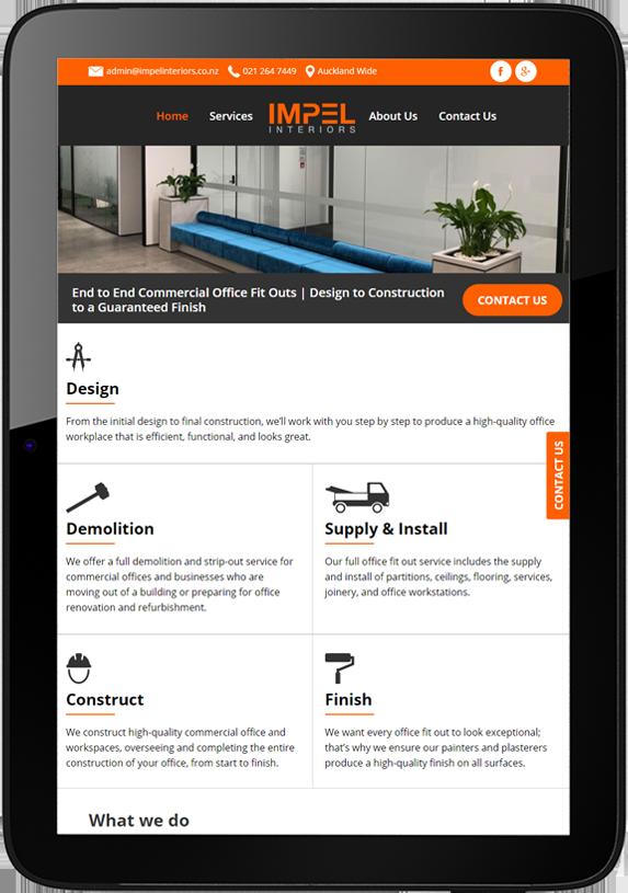 Tablet website design for Impel Interiors