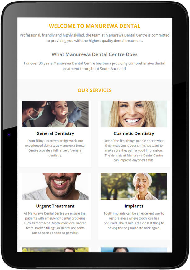 Manurewa Dental Website Design Tablet - Manurewa Dental