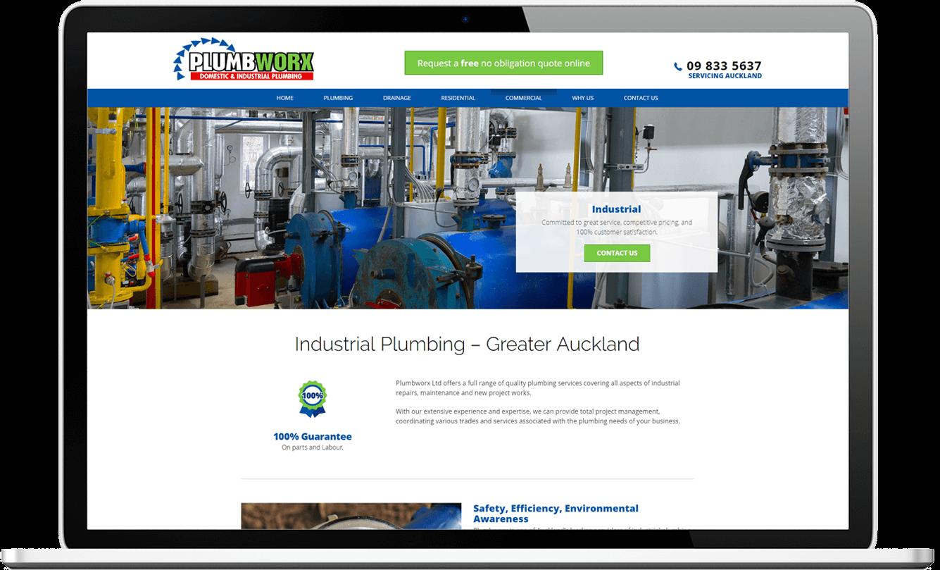 desktop view of website design for plumbworx