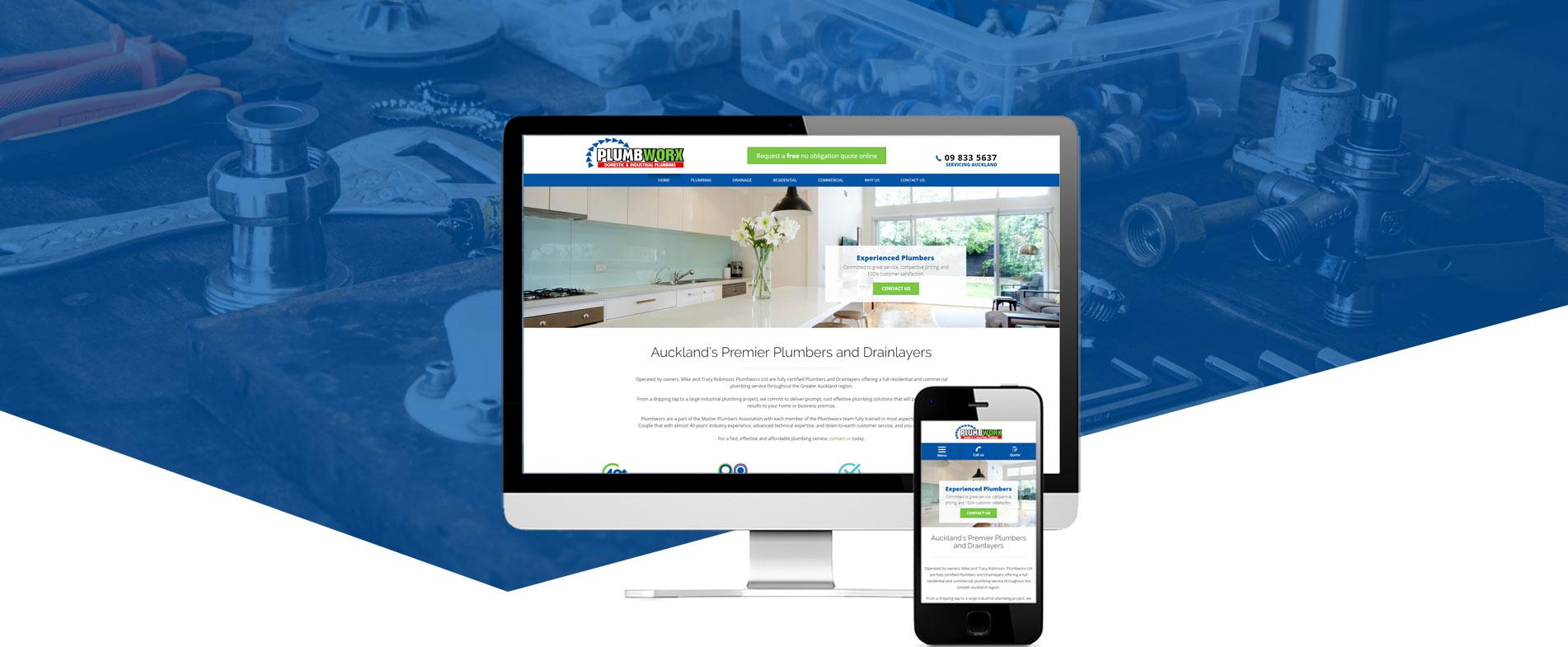 Plumbworx website design hero image - Plumbworx Website Design