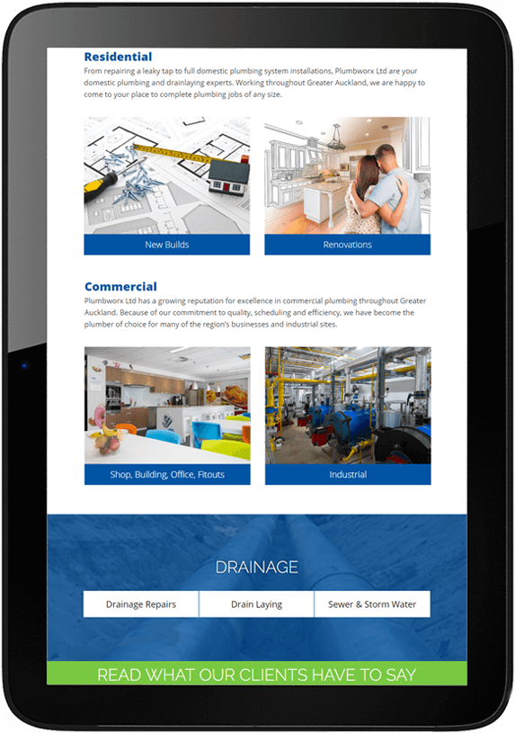 Tablet view of responsive website design for Plumbworx