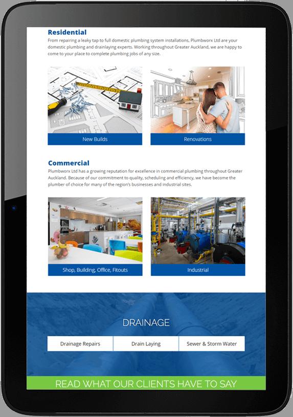 Plumbworx website design project tablet - Plumbworx Website Design