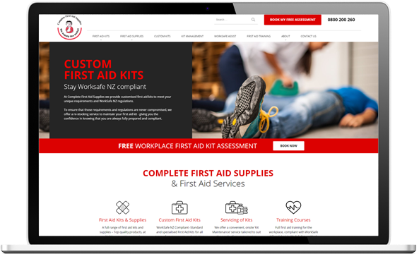 Complete First Aid website after redesign - Complete First Aid Supplies Website Re-design