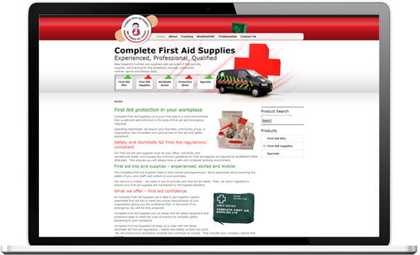 Complete First Aid website before redesign - Complete First Aid Supplies Website Re-design