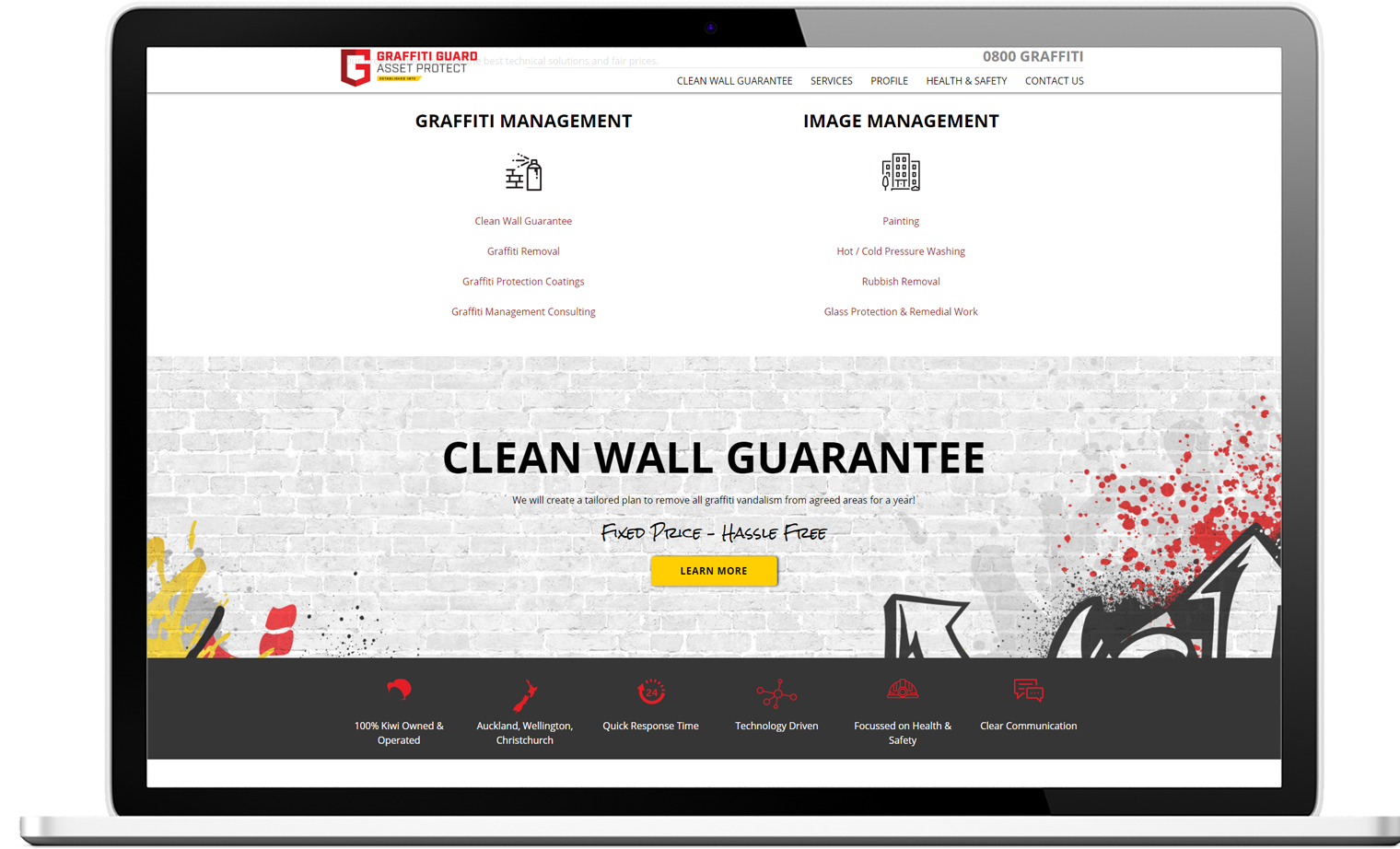 Website design for Graffiti Guard - desktop