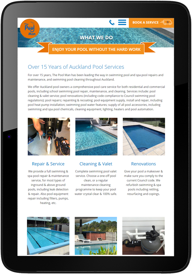 Tablet view of new website for The Pool Man
