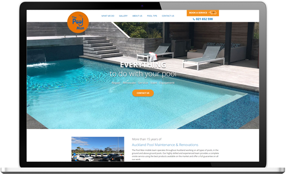 Website after re-design for The Pool Man