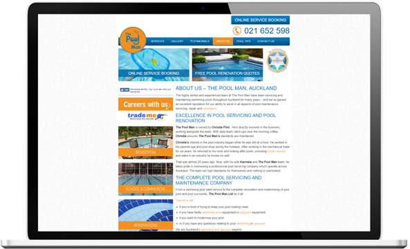 Before website re-design for the pool man