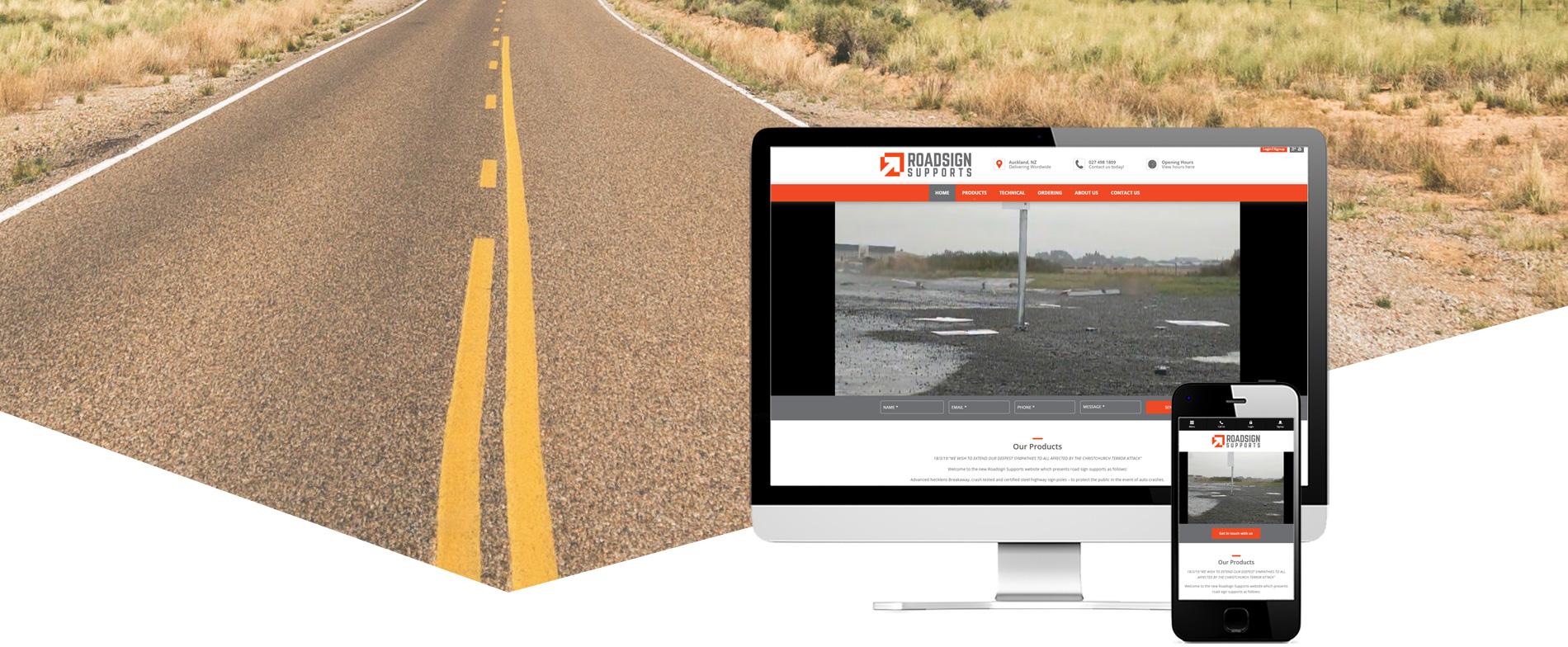 Website design banner for Roadsign Supports