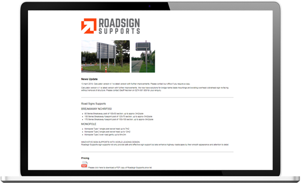 Roadsign website before re-development