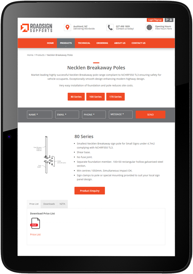Tablet view of Website design for Roadsign Supports