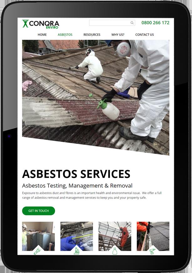 Conqra Website Design Tablet - Conqra Asbestos Website Design