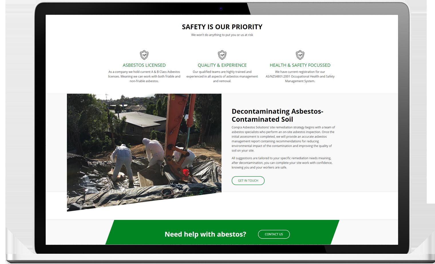 Conqra Website Re design Desktop - Conqra Asbestos Website Design