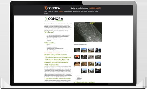 Conqra website before redesign - Conqra Asbestos Website Design