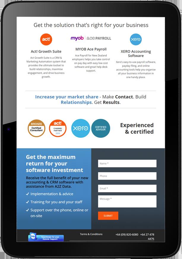 A2Z Website Design Tablet - A2Z Data
