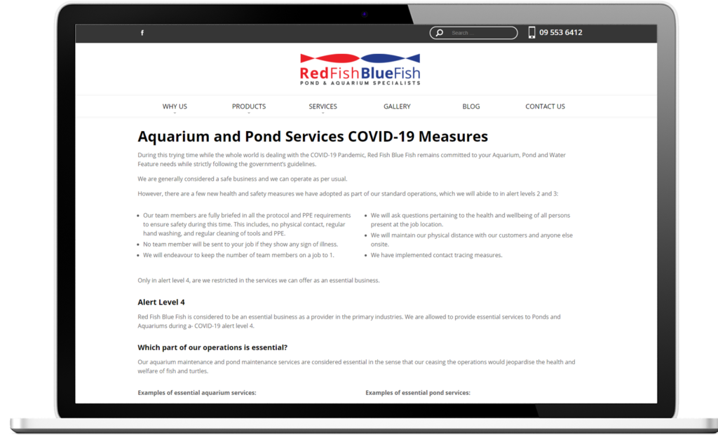 RedFish BlueFish Covid 19 page 1024x621 - Keep customers informed with a Covid-19 website banner