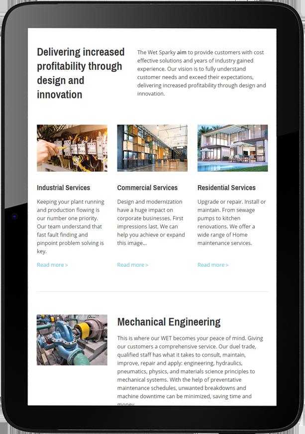 The Wet Sparky Website Design Tablet - The Wet Sparky Website Design
