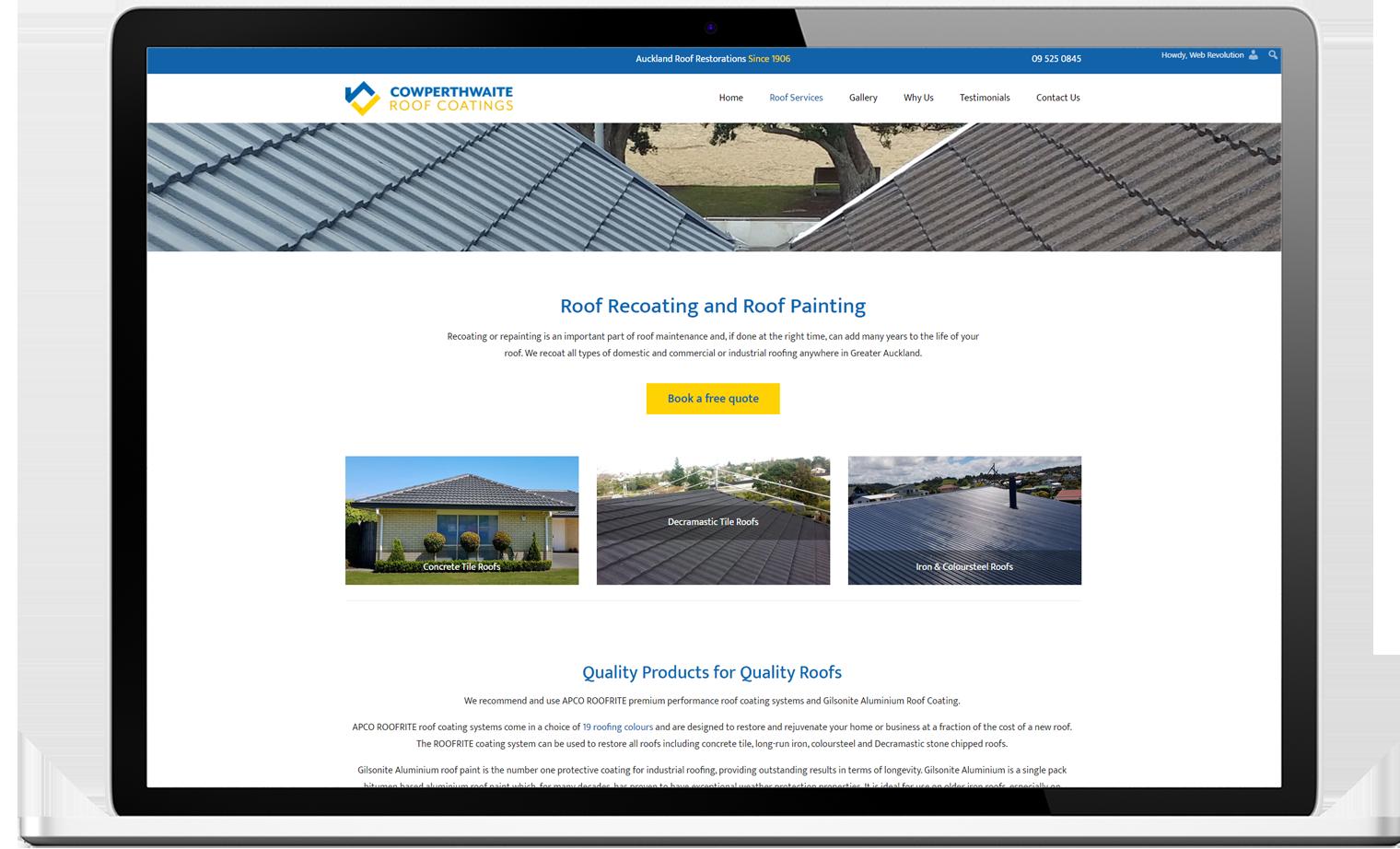 Cowperthwaite Website Re design Desktop - Cowperthwaite Roof Coatings Website and logo design