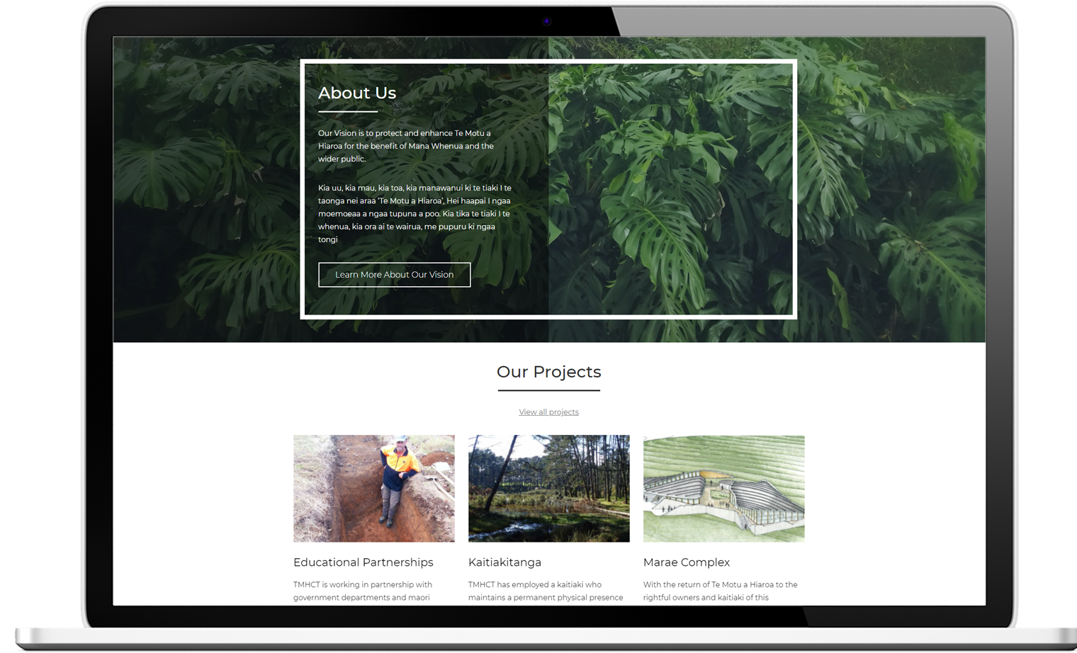 Te Motu A Hiaroa Trust Website Re design Desktop - Te Motu a Hiaroa Website Design