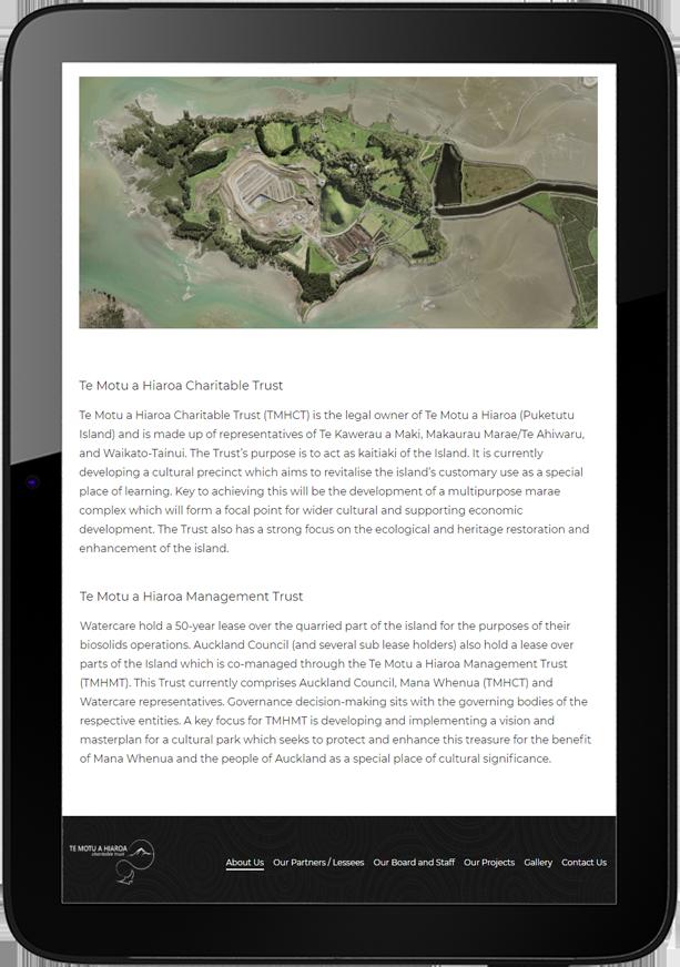Te Motu A Hiaroa Website Design Tablet - Te Motu a Hiaroa Website Design