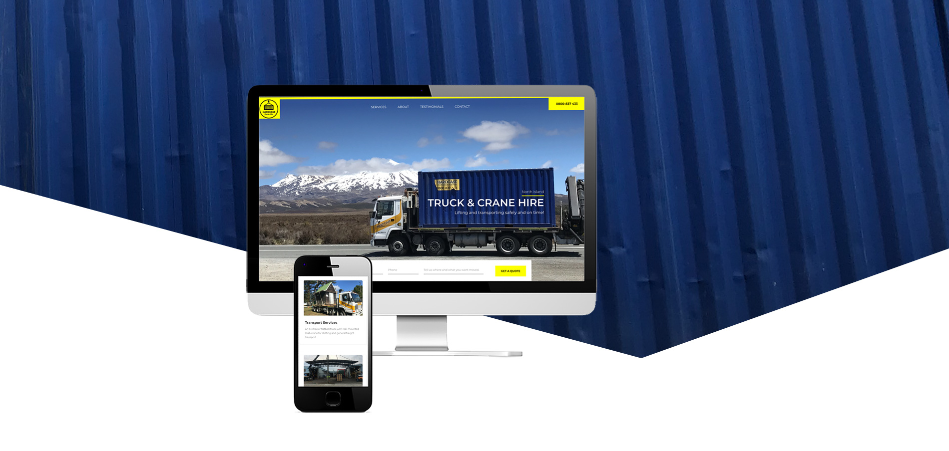 Truck and Crane Hire website project banner - Truck and Crane Hire