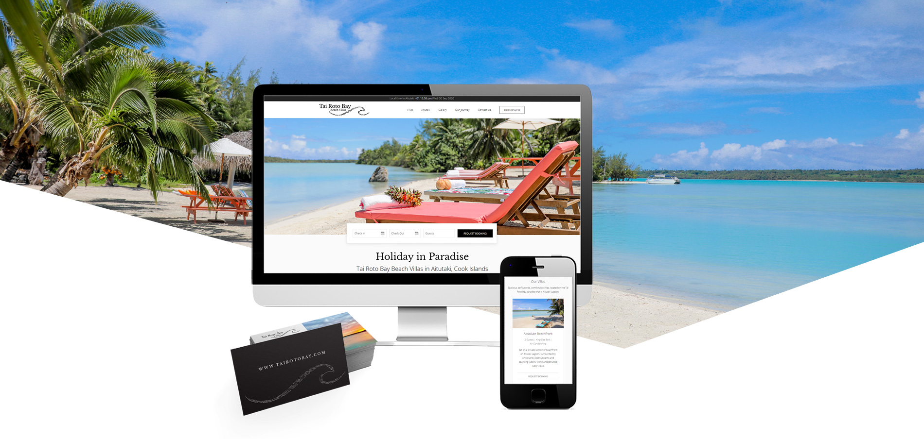 Tai Roto Bay Beach VIllas website and logo design banner - Tai Roto Bay Beach Villas