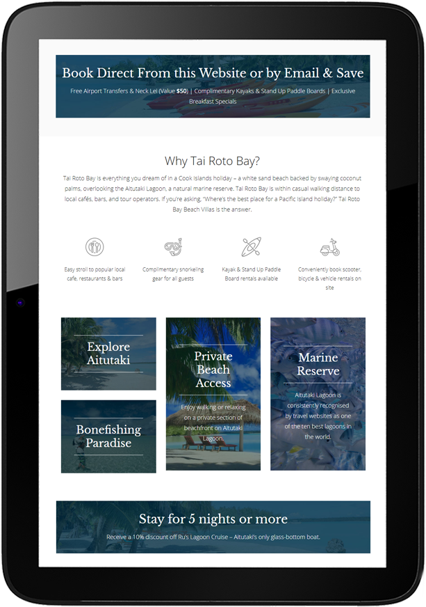 Tai Roto Bay Beach Villas Website Design Tablet - Tai Roto Bay Beach Villas