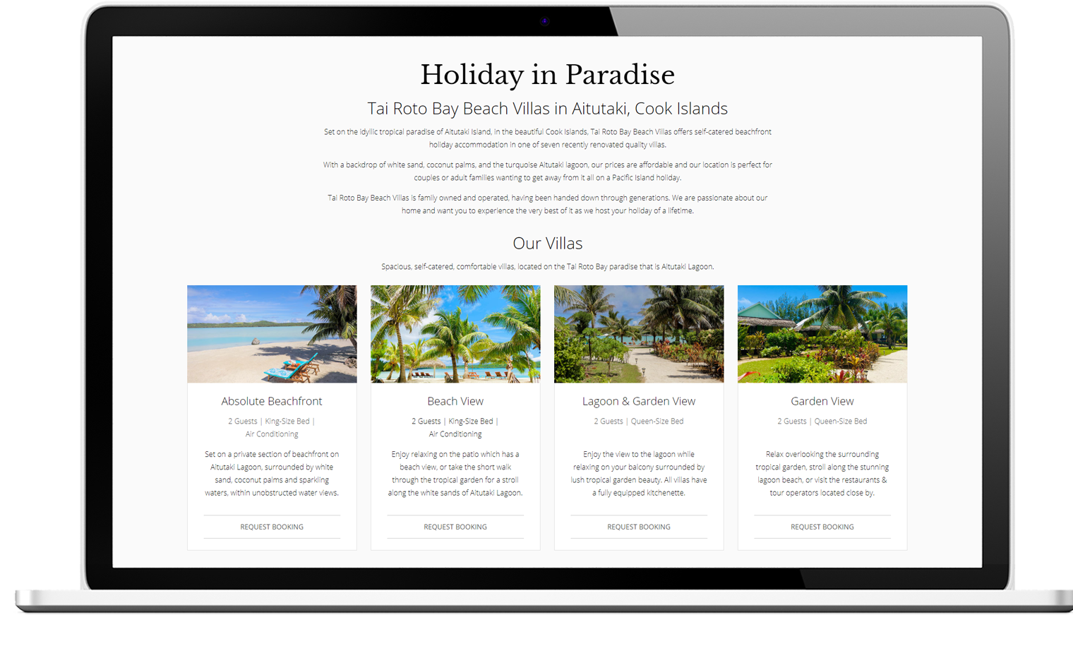 Tai Roto Bay Beach Villas website design laptop - Tai Roto Bay Beach Villas