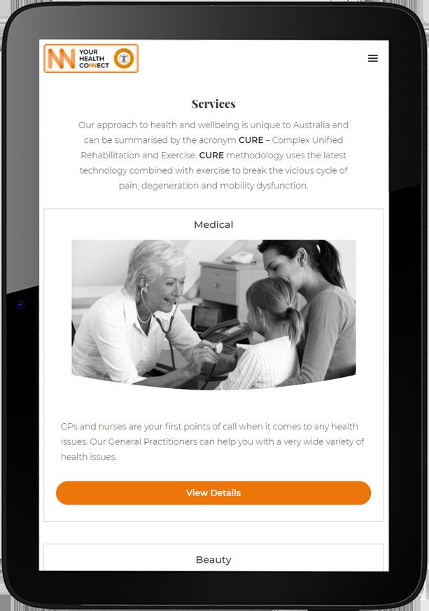 YHC website design tablet - Your Health Connect Website Design